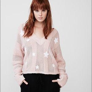 Express Pink & White Stars Oversized Sweater NWOT